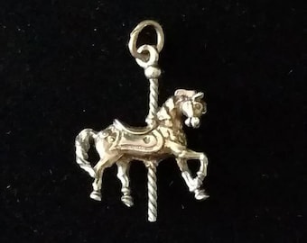 New Solid Sterling Silver 925 Charm Pendant 3D MERRY-GO-ROUND Carousel Horse 1088