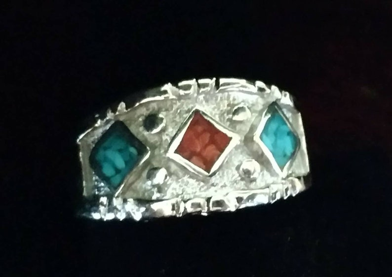 Vintage Southwest Turquoise /& Red Coral Men/'s Ring Size 12