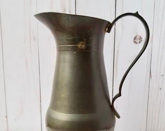 Vintage Brass Pitcher, Vintage Brass Vase, Brass Water Pitcher, Mid Century