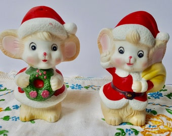 christmas mouse figurines vintage bisque porcelain christmas decorations christmas mice pair cute christmas decor - Mouse Decorations Christmas