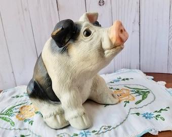 Piggy Bank, Vintage 1989 Geo Z Lefton Pig Bank, Ceramic Piggy Bank, Hampshire Pig, Lefton Collectible
