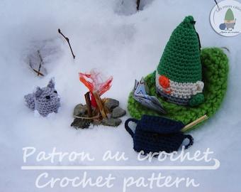 Patron au crochet Loopy le gnome et le renard gris aventure en forêt ensemble de jeux - en français