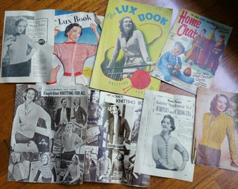 Beautiful Vintage Knitting Patterns.  1937 and 1950s