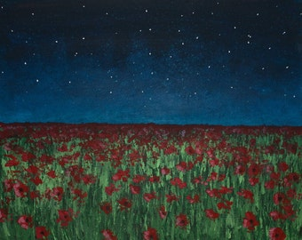 Field of Poppies Under A Starlit Sky