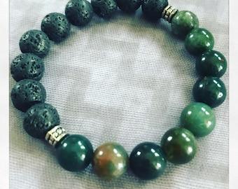 Natural Lava Stone Essential Oil Aromatherapy Diffuser Bracelet Fancy Jasper
