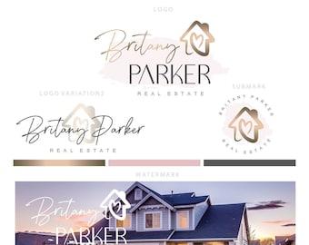 Branding kit logo design - Realtor logo - Real estate house logo -House care hearth logo - Gold pink realtor logo - Feminine house brand