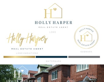 Branding kit logo design - Realtor logo - Real estate house logo -Initials hearth  logo - Gold blue realtor logo - Initials house brand