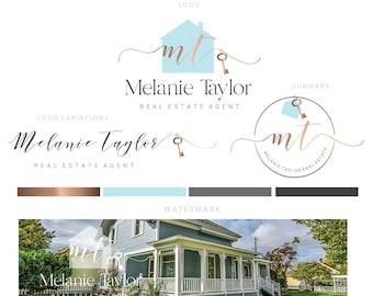 Branding kit logo design - Real estate logo - House key logo - Blue gold realtor logo - Realtor branding - Calligraphy real estate logo