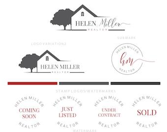 Branding kit logo design - Real estate logo - House tree logo - Gold real estate logo - Red realtor branding - Broker branding