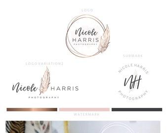 Branding kit logo design - Feather author logo - Virtual assistant logo - Journalist logo - Author branding - Angelic feather photography