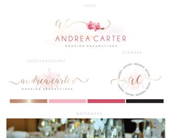 Branding kit logo design - Wedding planner logo - Photographer logo - Calligraphy initials - Event planner logo - Flower decor logo