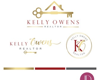 Branding kit logo design - Realtor branding - Real estate house key logo - Realtor house logo - Vintage key  initials realtor brand