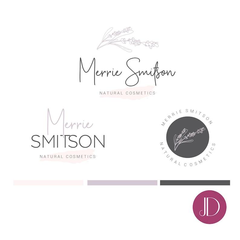 Branding kit logo design - Skin care logo - Natural logo - Lavender flower  logo - Beauty organic cosmetic logo - Natural logo branding
