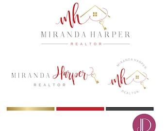 Branding kit logo design - Realtor branding - Real estate house key logo - Realtor house hearth logo - Calligraphy initials realtor brand