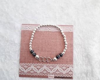 Heart stretch bracelet, triple heart bracelet