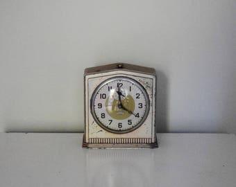 Antique Light Pink Metal Alarm Clock