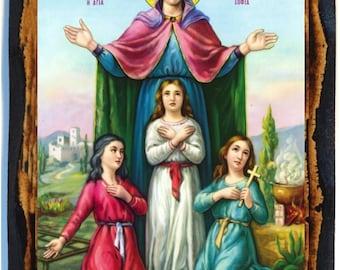 Saint Sophia the Martyr Greek Orthodox Russian Mount Athos Byzantine Christian Catholic Handmade wood icon on plaque