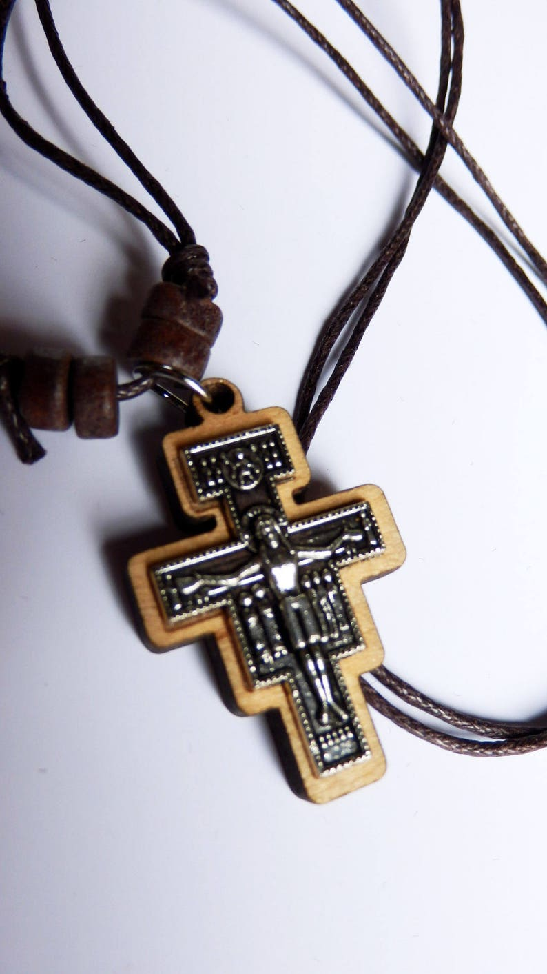 Wooden neck cross with leather chain-with Holy anointing oil - Mens Wooden  cross - Womens Wood Cross Orthodox Roman Christian Catholic