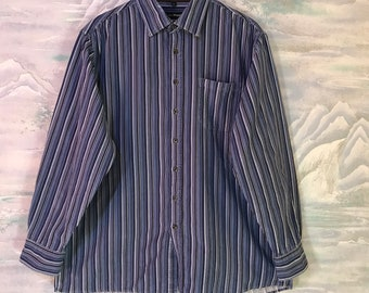 46524796a64e Mens Corduroy Blue Striped Shirt Men s Shirt Long Sleeve Cotton Shirt Dress  Extra Large Shirt Button Down Striped Shirt