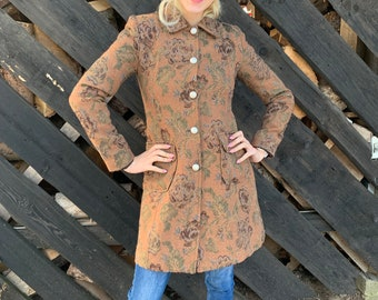 Womens Italian 4-Button Floral Boiled Wool Mix Long Hooded Ladies Coat Jacket