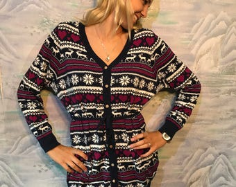 Christmas Cardigan Dark Blue Cardigan Large to Extra Large Size Womens  Button up Sweater 759fe7240