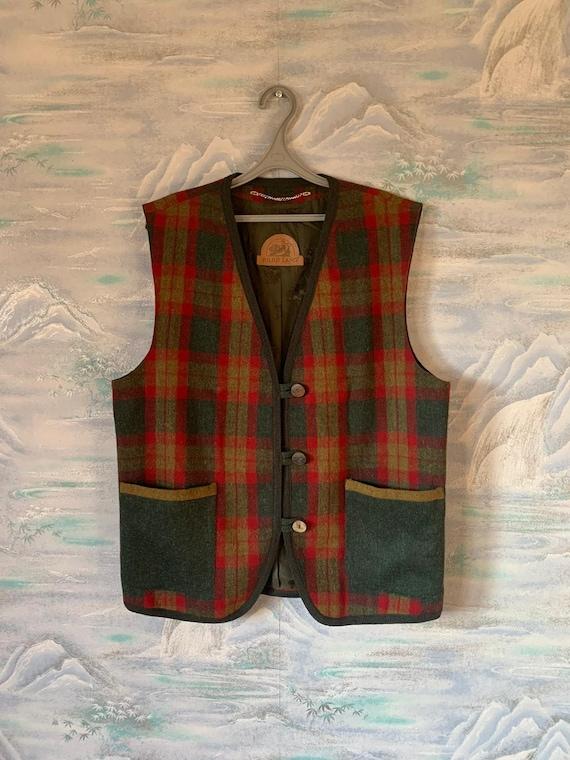 Vintage Wool Norwegian Vest Unisex Red Loden Traditional Vest Folk Bavarian Tyrolean Oktoberfest Waistcoat Medium to Large Size Wool Vest