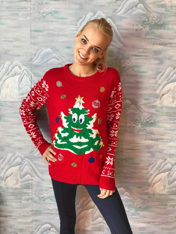 b6249c20362 Red Knitted Ugly Christmas Sweater Christmas Tree Red Nosed Winter Jumper  Stockings Funny Novelty Cosby Jumper Size Medium to Large