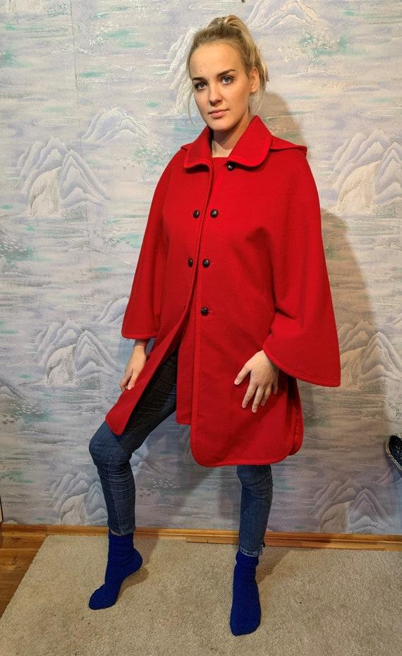 Vintage Wool Cloak Red Hooded Romantic Coat Austri