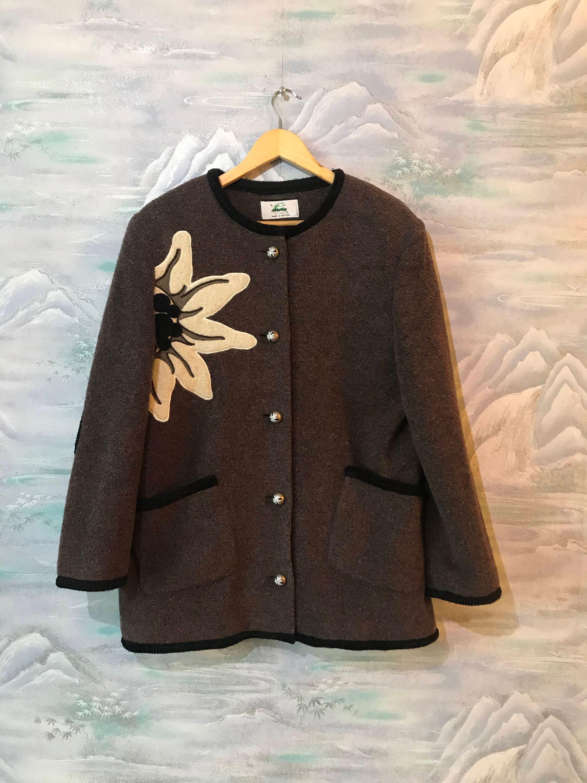 7c48a246e32 Bavarian Trachten Coat Medium to Large Size Cardigan Gray Alpen Jacket  Traditional German Dirndl Jacket Brown Folk Cardigan Oktoberfest Coat