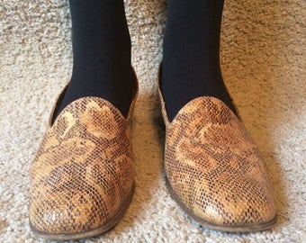 Vintage 80s Looks like Snake Skin Texture Leather Shoes  Shoes Brown Shoes Retro Dance Shoes Brown  US 10 UK 7.5 EUR 42