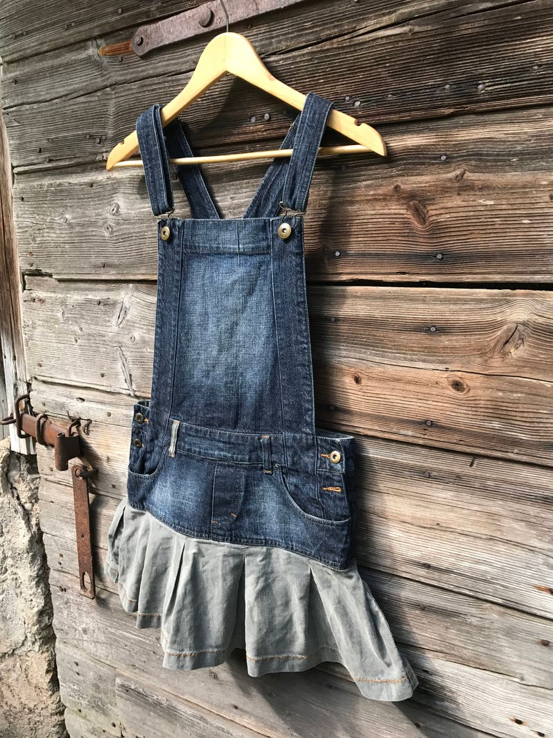 d70189c282 Blue Denim Jumper Dress Overall Oversized Bib Dress Cotton