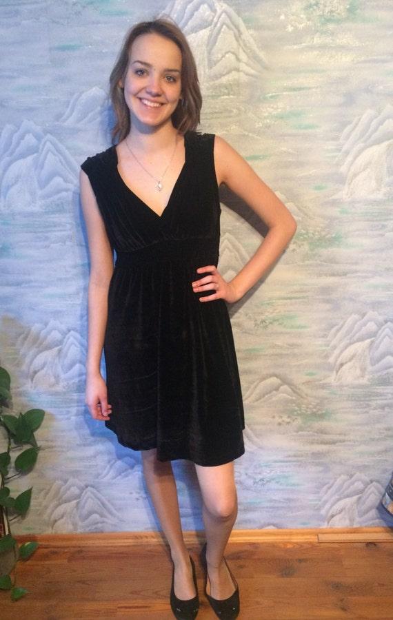 Black Mini Velvet Evening Dress  Holiday Cocktail Party Dress Sleeveless little Black Dress Large Size
