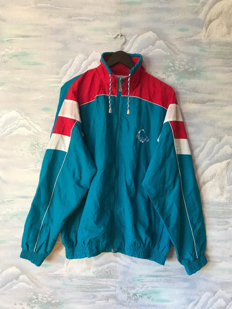 Vintage 80er Jahre Windbreaker blau Colorblock Parka Klee Hipster Colorblock Windbreaker leichte Jacke Jogging Jacke Größe XL