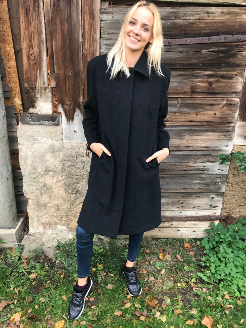 4842efa01 Vintage Classic Bavarian Coat Gray Wool Austrian Tiroler Loden Coat Dark  Gray Wool Dirndl Coat Large to XL Size Womens Coat Trachten Coat