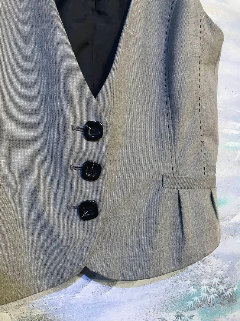 Women/'s Grey Vest Large Size Gray Fitted Waistcoat Office Ladies Vest Fabric Vest Classic Everyday Vest