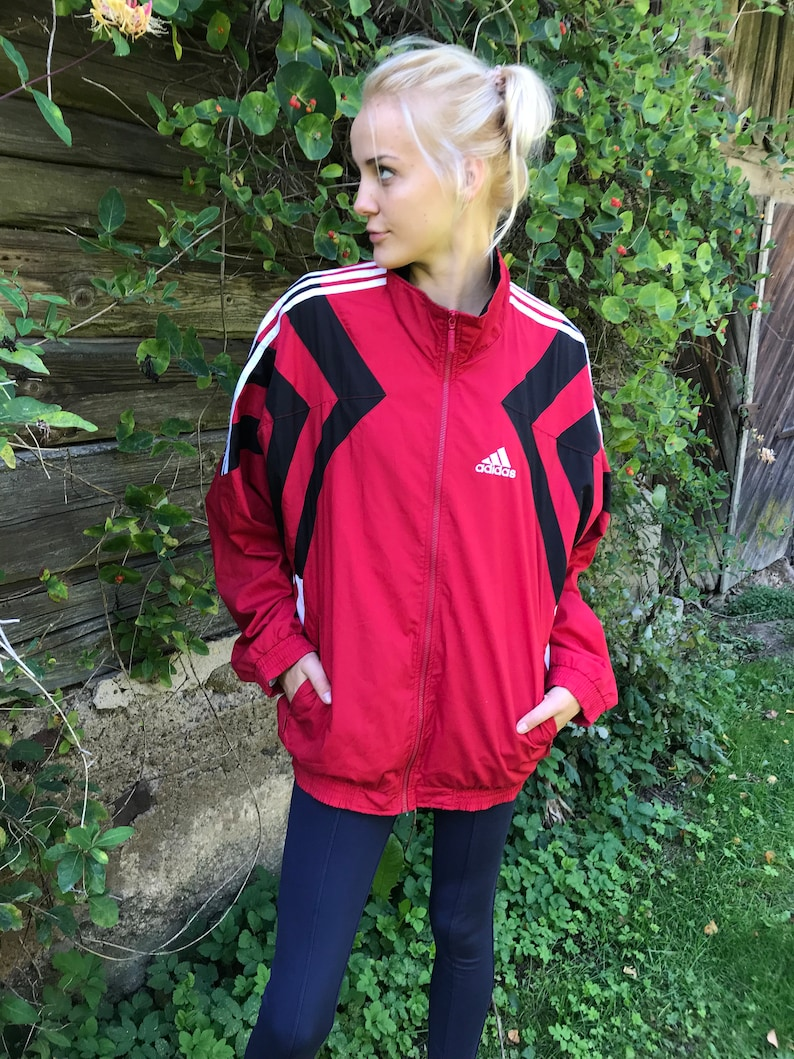 Adidas Sport Jacke rot Adidas Track Jacke Adidas Jogging Jacke ausgeführt, Parka Adidas drei Streifen Trainingsanzug Jacke Jacke Mittel bis groß