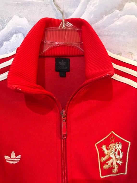 Leuchtend rote ADIDAS Jacke Adidas Track Jacke roten Jogging Parka Jacke Hipster Retro Adidas Sport Mantel drei Streifen klein laufend