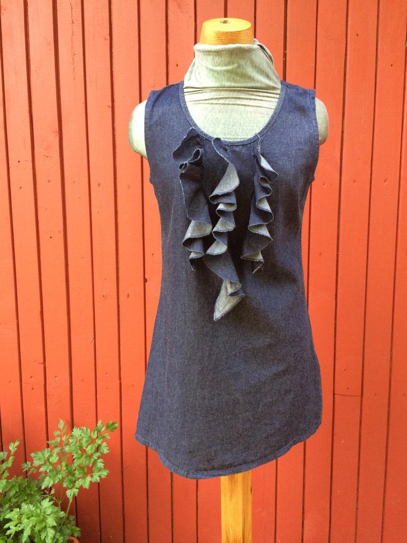 91b6a4b9dc Mini Blue Jean Dress with volan VINTAGE 70s MINI DRESS Denim