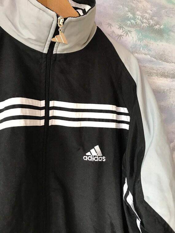 VINTAGES gris noirs ADIDAS veste Adidas Track Jacket Jogging Parka veste Hipster en cours d'exécution rétro Adidas gris Sport manteau taille Extra