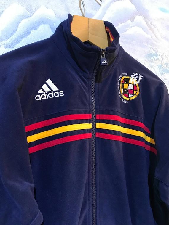 Jahrgang weichen dunkel blau Adidas Sport Jacke Adidas Track Jacke Adidas Jogging Jacke Adidas drei Streifen Jacke Trainingsanzug Jacke Medium