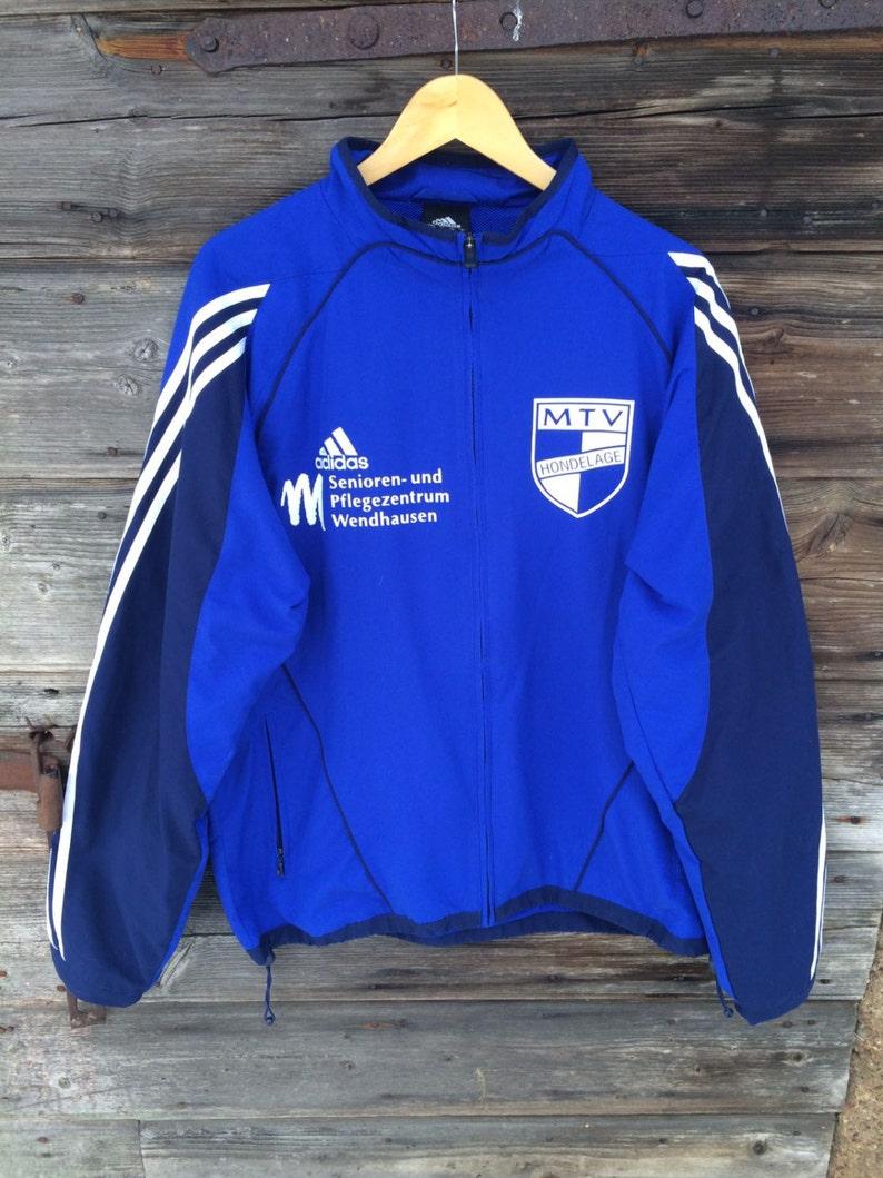 Blaue Adidas Jacke blau Hipster Parka Adidas Windbreaker leicht Joggen Jacke drei Streifen Jacke Navy Sport Jacke groß