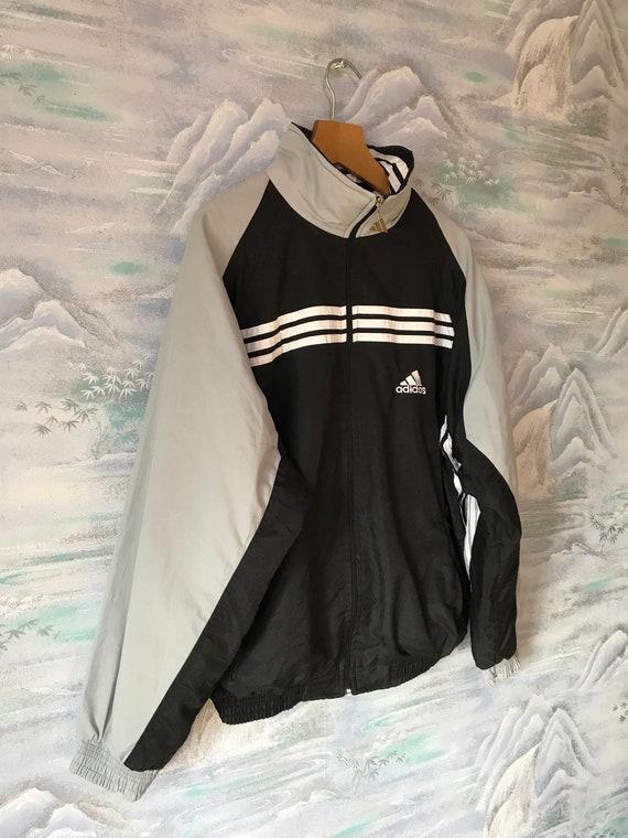 Vintage grau schwarz ADIDAS Jacke Adidas Trainingsjacke Joggen Parka läuft Jacke Hipster Retro Adidas grau Sport Mantel Größe XL