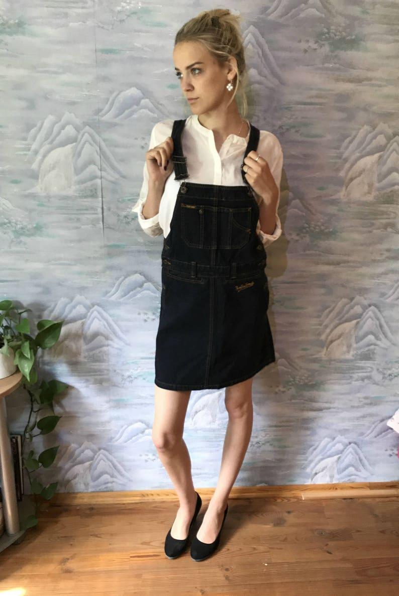a23fb6fc12 Dark Blue Denim Jumper Dress Cotton Jeans Sarafan Mini Skirt