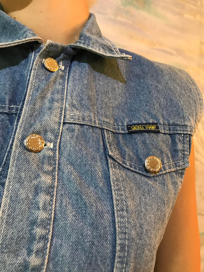 Blue Denim Vest Fitted Hipster Vest Jeans Waistcoat Country Western Style Vest Medium Size