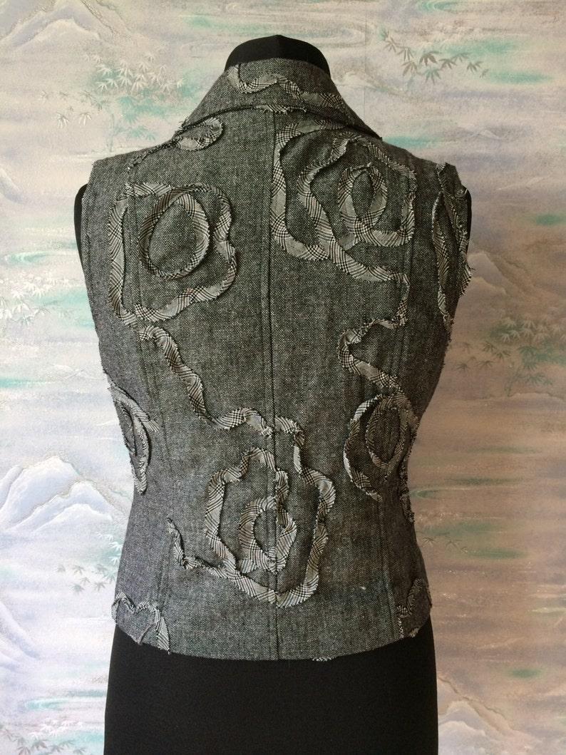 Women/'s Grey Embroider Vest Fitted Formal Waistcoat Secretary Elegant Vest Plaid Grey Vest Large Size Vest