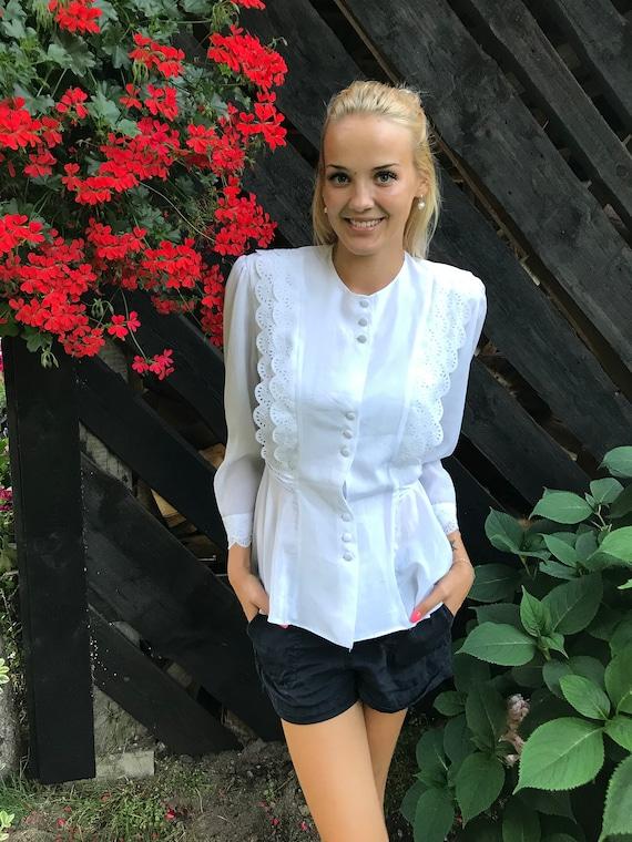 White Elegant Blouse Pleasant Blouse Long Sleeves