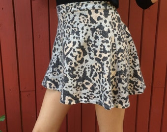 90's A Line High Leopard Mini Skirt Vintage cotton Skirt Leopard Cheetah Print Mini Skirt