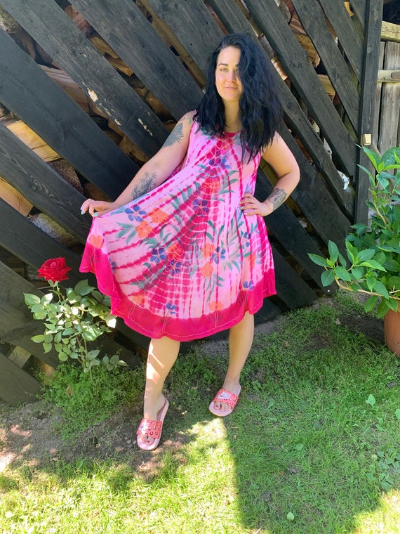 Pink Batik Tent Dress Rayon Summer Dress Sleeve Less Dress Oversized Batik Dress Embroidered Dress Maternity Dress Medium to Extra Large