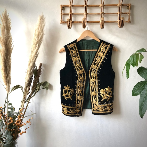 Black Velvet Afghan Bohemian Waistcoat/Vest
