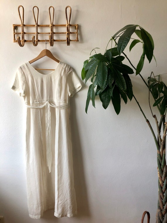 Vintage Maxi Dress. White Sun Dress, Flowy Boho Dr